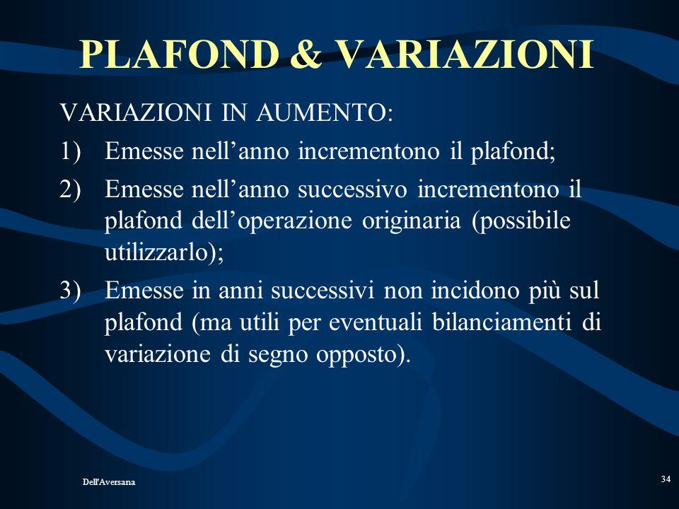 Dell'Aversana 33 PLAFOND & VARIAZIONI Circolare n. 8/D del 2003 VARIAZIONE IN DIMINUZIONE Nellanno: nessun problema; Nellanno successivo: non diminuis