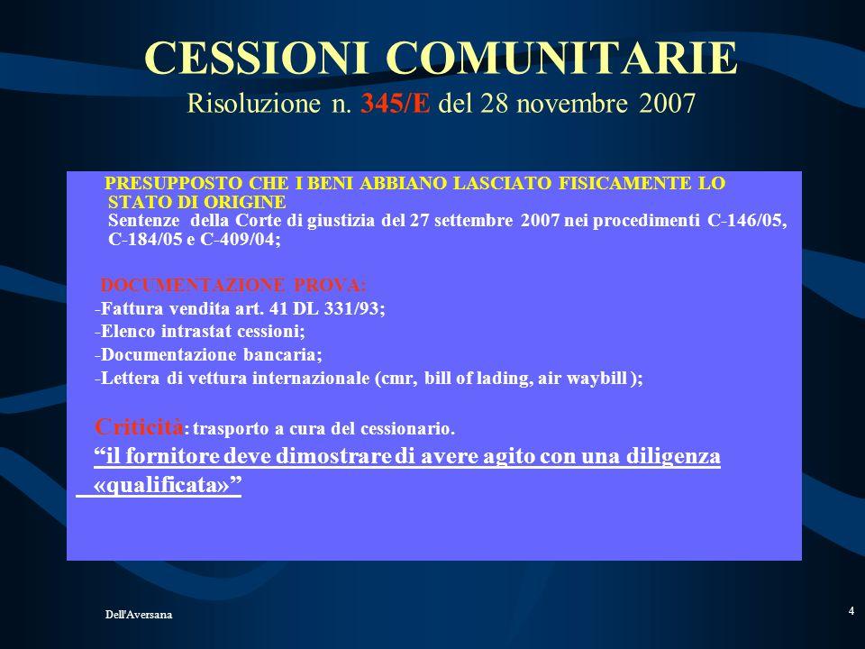 Dell'Aversana 3 Operazioni Comunitarie NON IMPONIBILI D.L. 331/93 Acquisti e cessioni di beni (trasferimento fisico tra due diversi paesi comunitari e