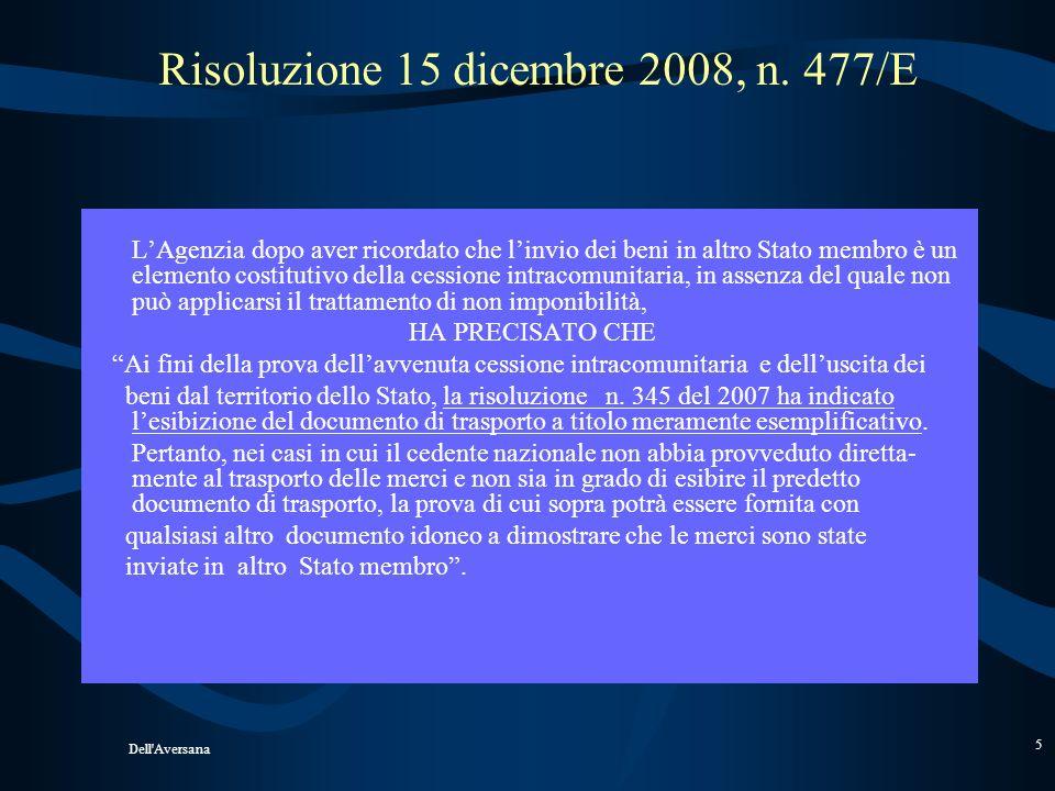 Dell'Aversana 4 CESSIONI COMUNITARIE Risoluzione n. 345/E del 28 novembre 2007 PRESUPPOSTO CHE I BENI ABBIANO LASCIATO FISICAMENTE LO STATO DI ORIGINE