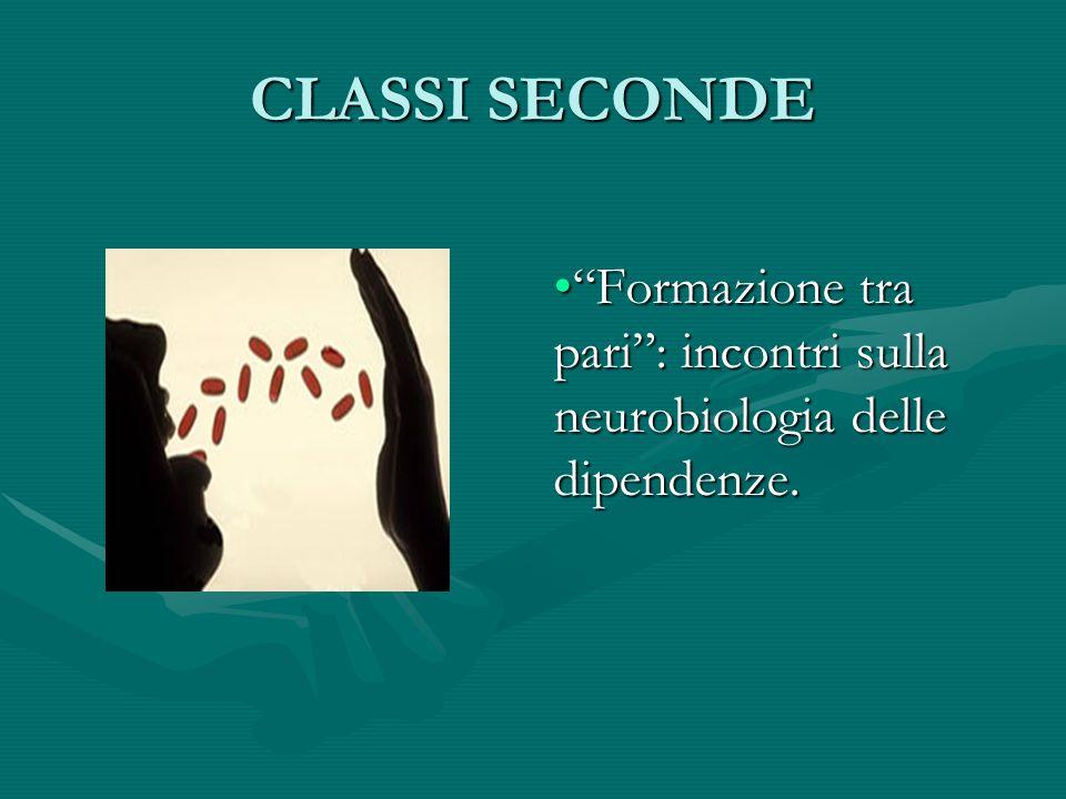 CLASSI SECONDE Formazione tra pari: incontri sulla neurobiologia delle dipendenze.