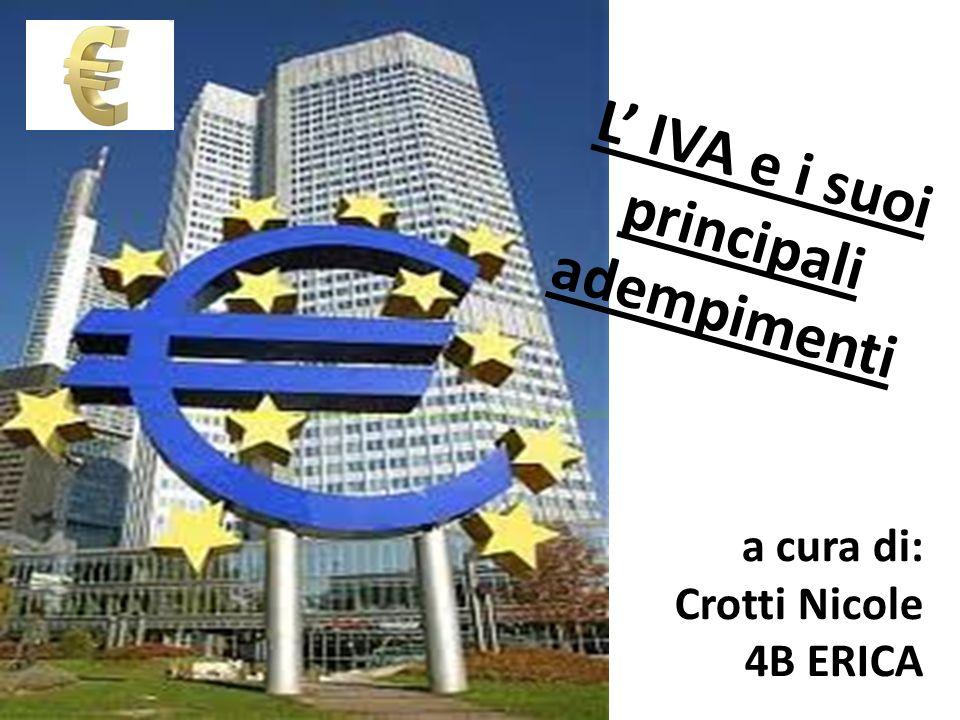 L IVA e i suoi principali adempimenti a cura di: Crotti Nicole 4B ERICA