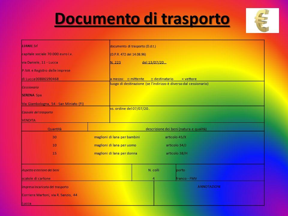 Documento di trasporto LIANIL Srl documento di trasporto (D.d.t.) capitale sociale 70.000 euro i.v. (D.P.R. 472 del 14.08.96) via Daniele, 11 - LuccaN