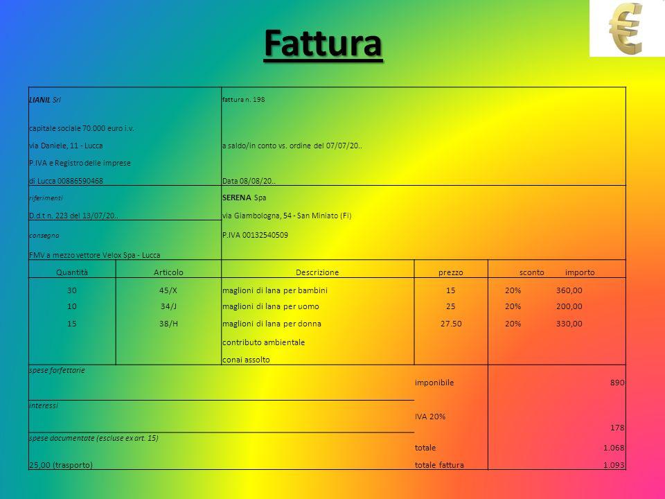 Fattura LIANIL Srl fattura n. 198 capitale sociale 70.000 euro i.v. via Daniele, 11 - Luccaa saldo/in conto vs. ordine del 07/07/20.. P.IVA e Registro