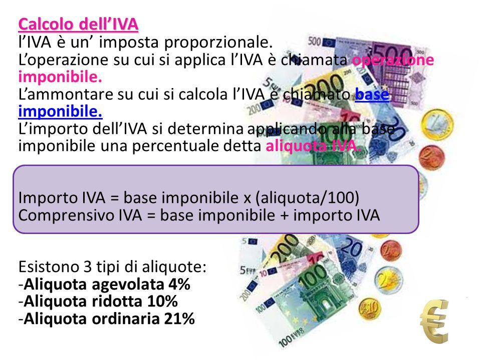 Calcolo dellIVA lIVA è un imposta proporzionale. Loperazione su cui si applica lIVA è chiamata operazione imponibile. Lammontare su cui si calcola lIV