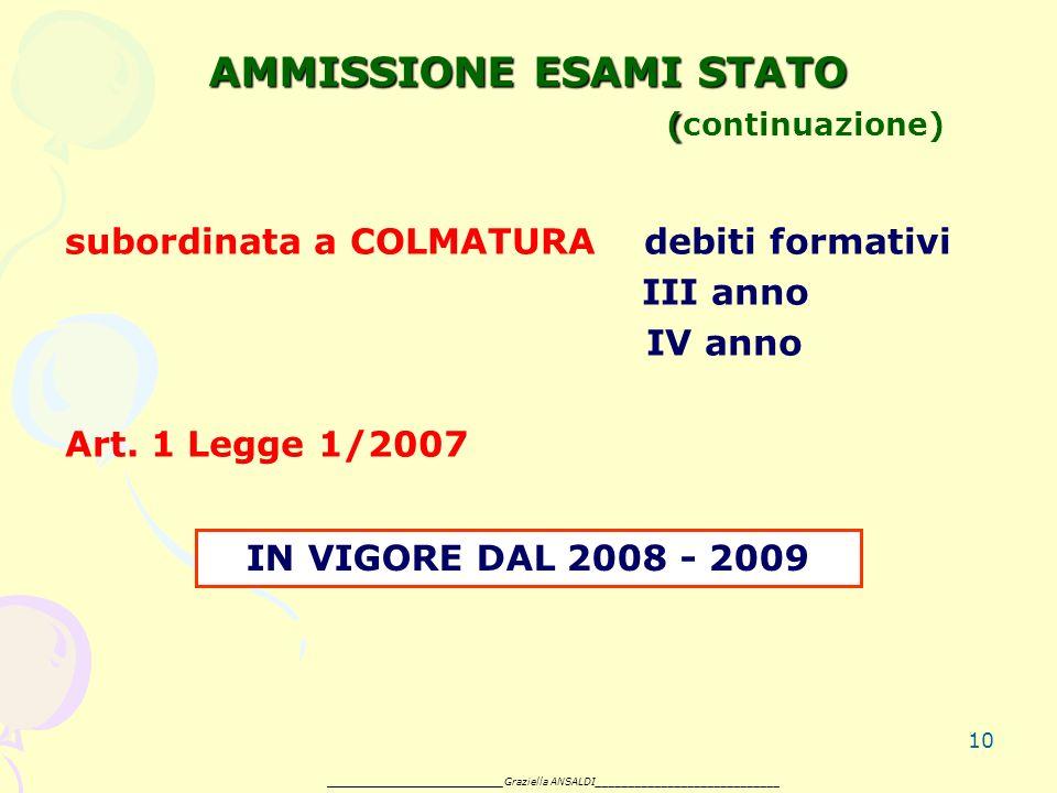 10 AMMISSIONE ESAMI STATO ( AMMISSIONE ESAMI STATO (continuazione) subordinata a COLMATURA debiti formativi III anno IV anno Art.