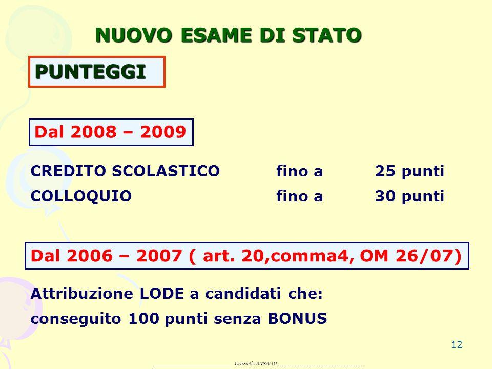 12 NUOVO ESAME DI STATO CREDITO SCOLASTICOfino a 25 punti COLLOQUIOfino a30 punti Attribuzione LODE a candidati che: conseguito 100 punti senza BONUS _______________________ Graziella ANSALDI____________________________ Dal 2008 – 2009 Dal 2006 – 2007 ( art.