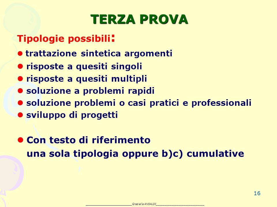 16 TERZA PROVA Tipologie possibili : trattazione sintetica argomenti risposte a quesiti singoli risposte a quesiti multipli soluzione a problemi rapidi soluzione problemi o casi pratici e professionali sviluppo di progetti Con testo di riferimento una sola tipologia oppure b)c) cumulative _______________________ Graziella ANSALDI____________________________