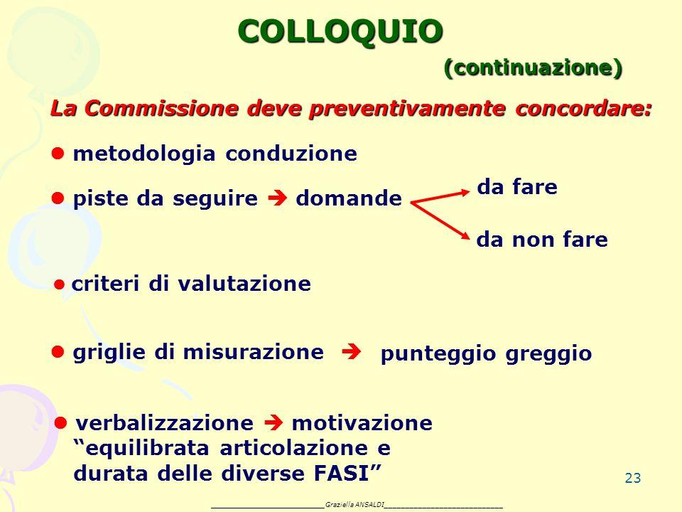 23 COLLOQUIO (continuazione) La Commissione deve preventivamente concordare: metodologia conduzione piste da seguire domande da non fare griglie di misurazione punteggio greggio da fare verbalizzazione motivazione equilibrata articolazione e durata delle diverse FASI _______________________ Graziella ANSALDI____________________________ criteri di valutazione