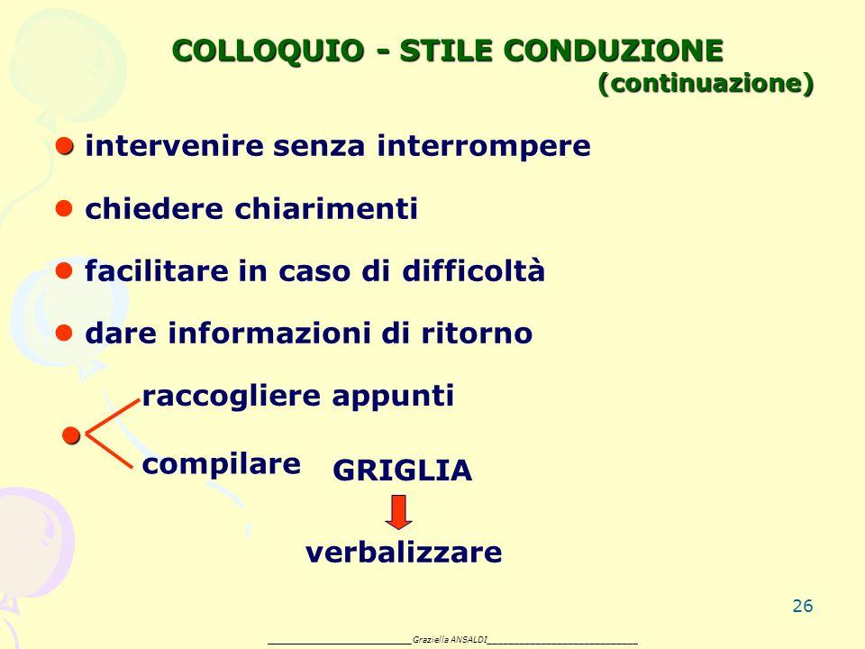 26 COLLOQUIO - STILE CONDUZIONE (continuazione) intervenire senza interrompere chiedere chiarimenti facilitare in caso di difficoltà dare informazioni di ritorno raccogliere appunti compilare GRIGLIA verbalizzare _______________________ Graziella ANSALDI____________________________