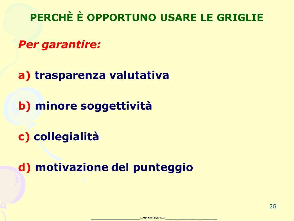 28 PERCHÈ È OPPORTUNO USARE LE GRIGLIE Per garantire: a) trasparenza valutativa b) minore soggettività c) collegialità d) motivazione del punteggio _______________________ Graziella ANSALDI____________________________