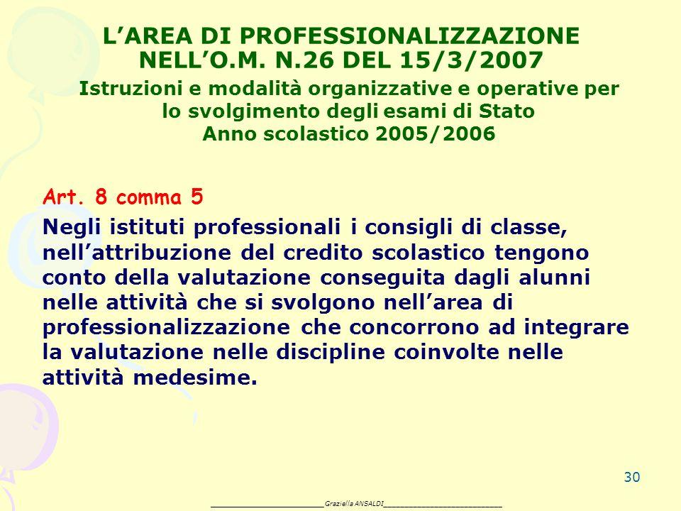 30 LAREA DI PROFESSIONALIZZAZIONE NELLO.M. N.26 DEL 15/3/2007 Art.