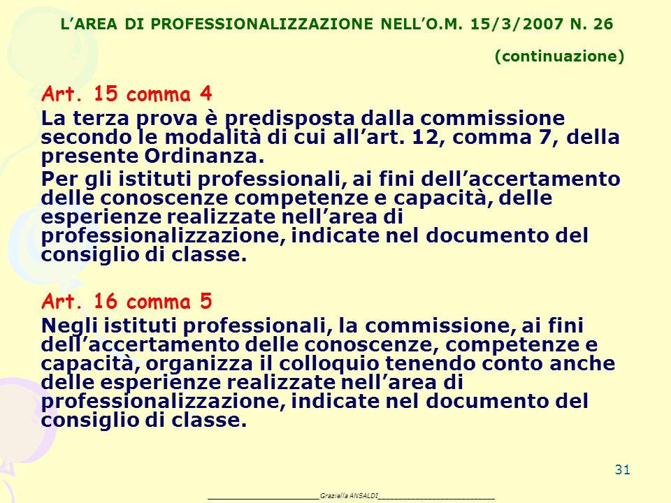31 LAREA DI PROFESSIONALIZZAZIONE NELLO.M. 15/3/2007 N.