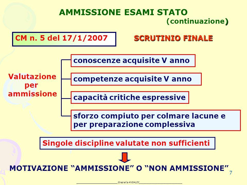 7 ) AMMISSIONE ESAMI STATO (continuazione) CM n.