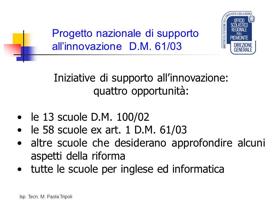 Progetto nazionale di supporto allinnovazione D.M.