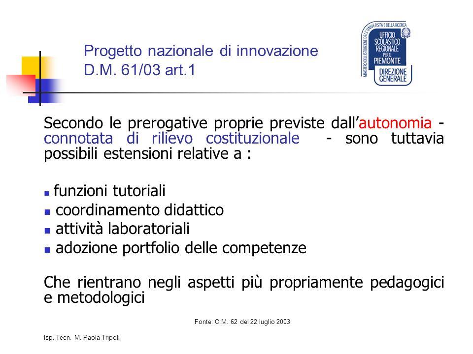 Progetto nazionale di innovazione D.M.
