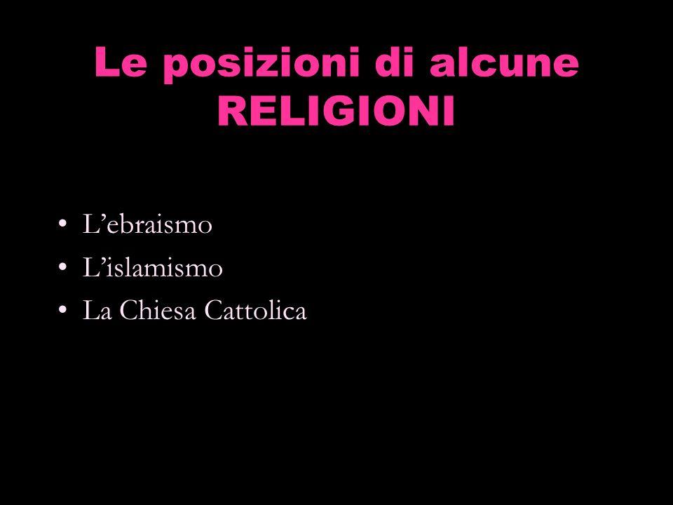 Le posizioni di alcune RELIGIONI Lebraismo Lislamismo La Chiesa Cattolica
