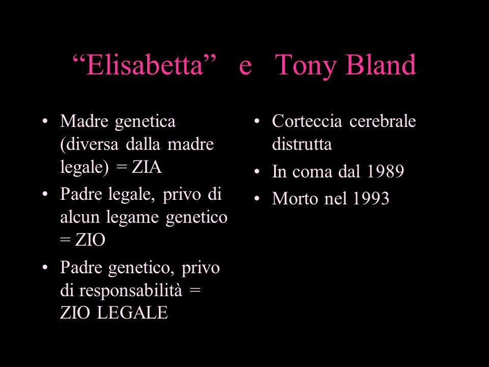 Elisabetta e Tony Bland Madre genetica (diversa dalla madre legale) = ZIA Padre legale, privo di alcun legame genetico = ZIO Padre genetico, privo di