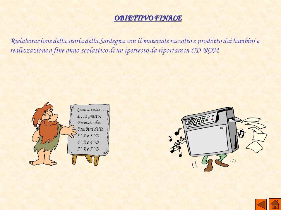 OBIETTIVO FINALE Rielaborazione della storia della Sardegna con il materiale raccolto e prodotto dai bambini e realizzazione a fine anno scolastico di
