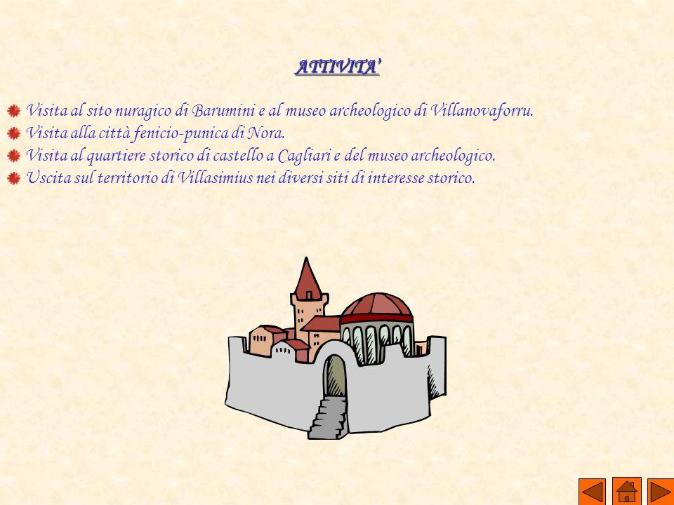 ATTIVITA Visita al sito nuragico di Barumini e al museo archeologico di Villanovaforru. Visita alla città fenicio-punica di Nora. Visita al quartiere