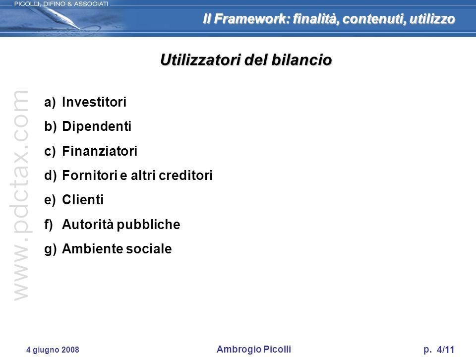 Il Framework: finalità, contenuti, utilizzo 4/11 4 giugno 2008 Ambrogio Picolli p. Utilizzatori del bilancio a)Investitori b)Dipendenti c)Finanziatori