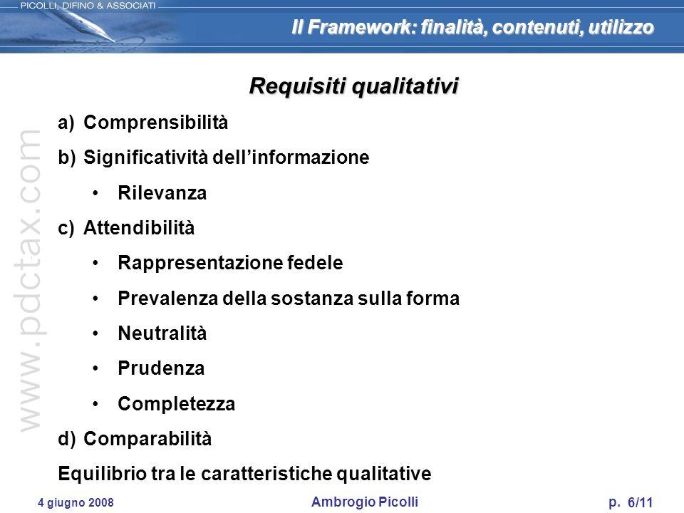 Il Framework: finalità, contenuti, utilizzo 6/11 4 giugno 2008 Ambrogio Picolli p. Requisiti qualitativi a)Comprensibilità b)Significatività dellinfor