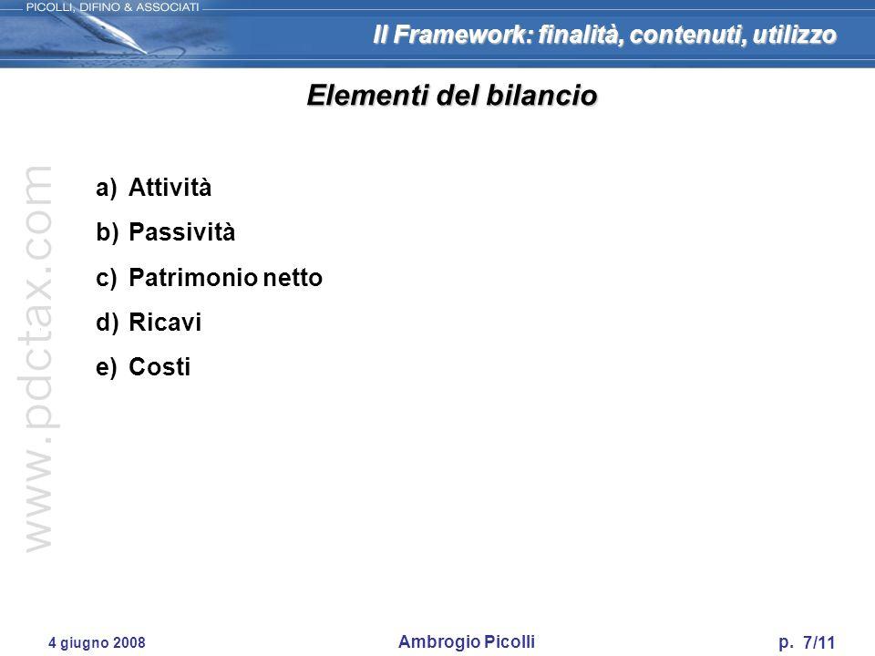 Il Framework: finalità, contenuti, utilizzo 7/11 4 giugno 2008 Ambrogio Picolli p. Elementi del bilancio a)Attività b)Passività c)Patrimonio netto d)R