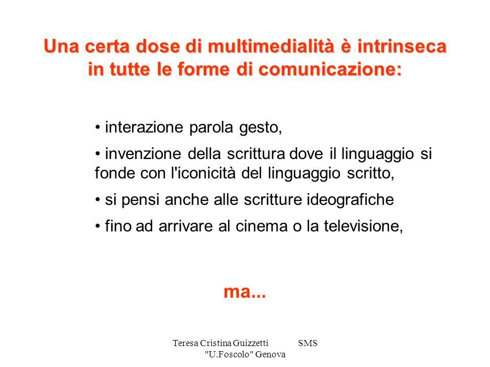 Teresa Cristina Guizzetti SMS U.Foscolo Genova Ipermedia Se le informazioni che sono collegate tra loro nella rete non sono solo documenti testuali, ma in generale informazioni veicolate da media differenti ( testi, immagini, suoni, video), l ipertesto diventa multimediale e viene definito ipermedia.