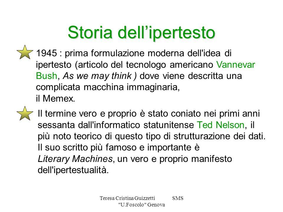 Teresa Cristina Guizzetti SMS U.Foscolo Genova Storia dellipertesto Il termine vero e proprio è stato coniato nei primi anni sessanta dall informatico statunitense Ted Nelson, il più noto teorico di questo tipo di strutturazione dei dati.