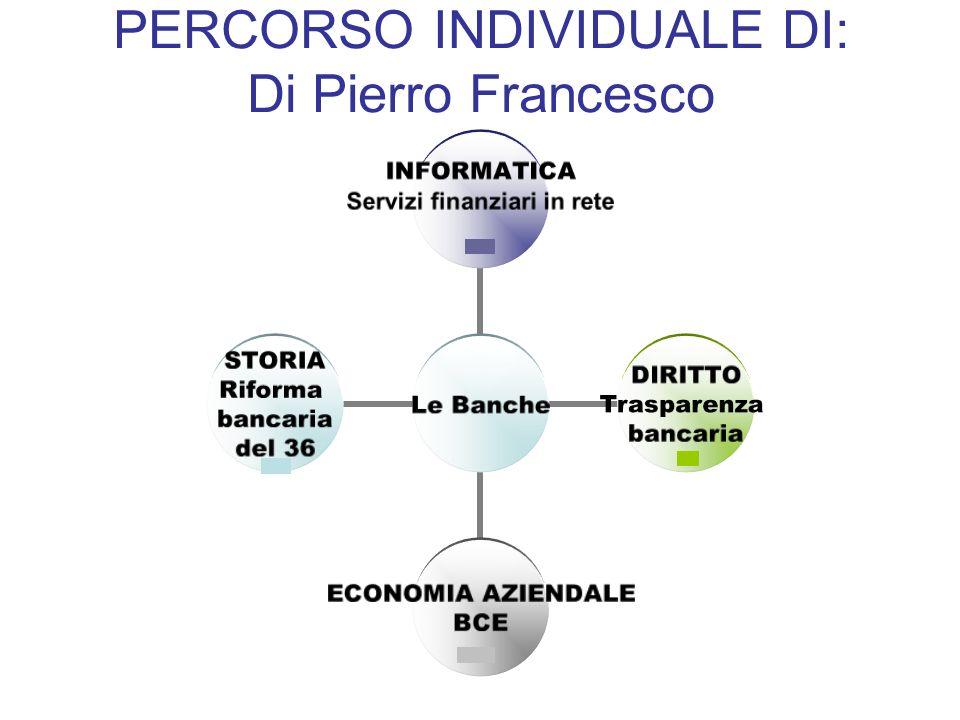 Le Banche INFORMATICA Servizi finanziari in rete DIRITTO Trasparenza bancaria ECONOMIA AZIENDALE BCE STORIA Riforma bancaria del 36 PERCORSO INDIVIDUA