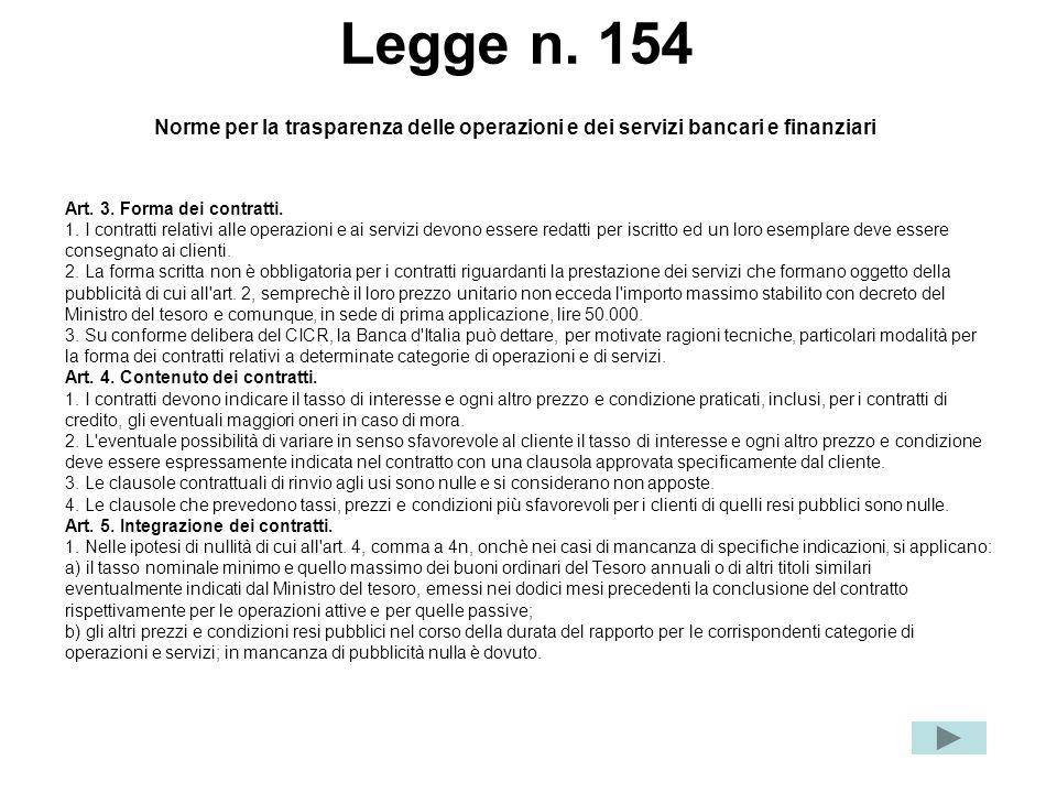 Legge n. 154 Norme per la trasparenza delle operazioni e dei servizi bancari e finanziari Art. 3. Forma dei contratti. 1. I contratti relativi alle op