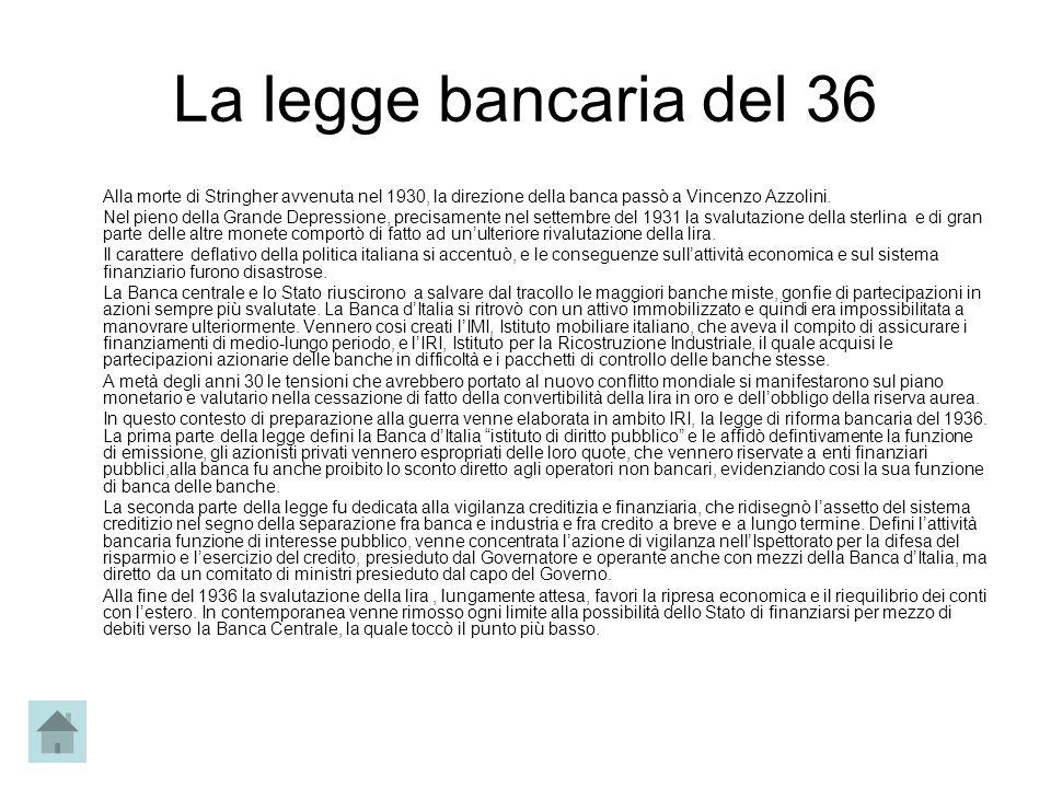 La legge bancaria del 36 Alla morte di Stringher avvenuta nel 1930, la direzione della banca passò a Vincenzo Azzolini. Nel pieno della Grande Depress