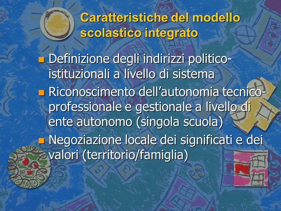 Caratteristiche del modello scolastico integrato n Definizione degli indirizzi politico- istituzionali a livello di sistema n Riconoscimento dellauton