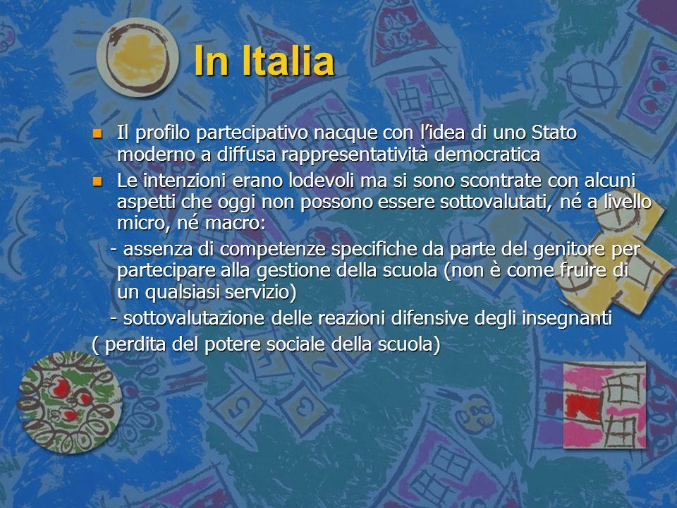 In Italia n Il profilo partecipativo nacque con lidea di uno Stato moderno a diffusa rappresentatività democratica n Le intenzioni erano lodevoli ma s