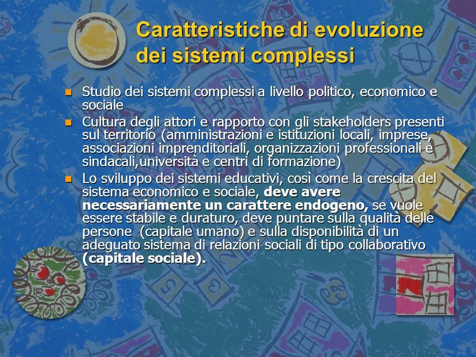Caratteristiche di evoluzione dei sistemi complessi n Studio dei sistemi complessi a livello politico, economico e sociale n Cultura degli attori e ra