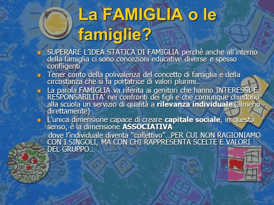 La FAMIGLIA o le famiglie? n SUPERARE LIDEA STATICA DI FAMIGLIA perchè anche allinterno della famiglia ci sono concezioni educative diverse e spesso c