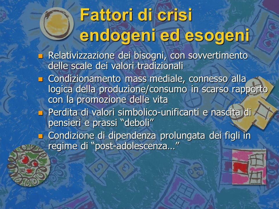 Fattori di crisi endogeni ed esogeni n Relativizzazione dei bisogni, con sovvertimento delle scale dei valori tradizionali n Condizionamento mass medi