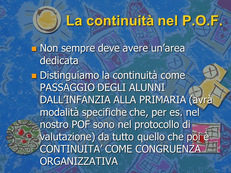 La continuità nel P.O.F. n Non sempre deve avere unarea dedicata n Distinguiamo la continuità come PASSAGGIO DEGLI ALUNNI DALLINFANZIA ALLA PRIMARIA (