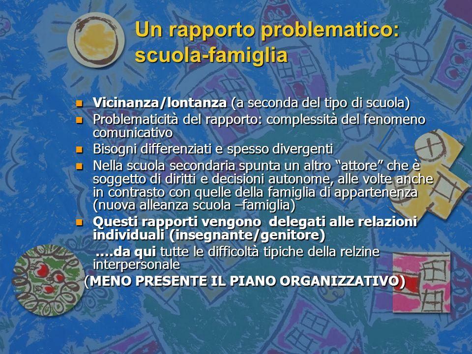 Un rapporto problematico: scuola-famiglia n Vicinanza/lontanza (a seconda del tipo di scuola) n Problematicità del rapporto: complessità del fenomeno