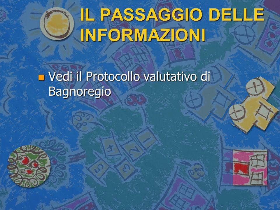 IL PASSAGGIO DELLE INFORMAZIONI n Vedi il Protocollo valutativo di Bagnoregio