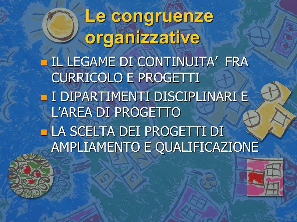 Le congruenze organizzative n IL LEGAME DI CONTINUITA FRA CURRICOLO E PROGETTI n I DIPARTIMENTI DISCIPLINARI E LAREA DI PROGETTO n LA SCELTA DEI PROGE