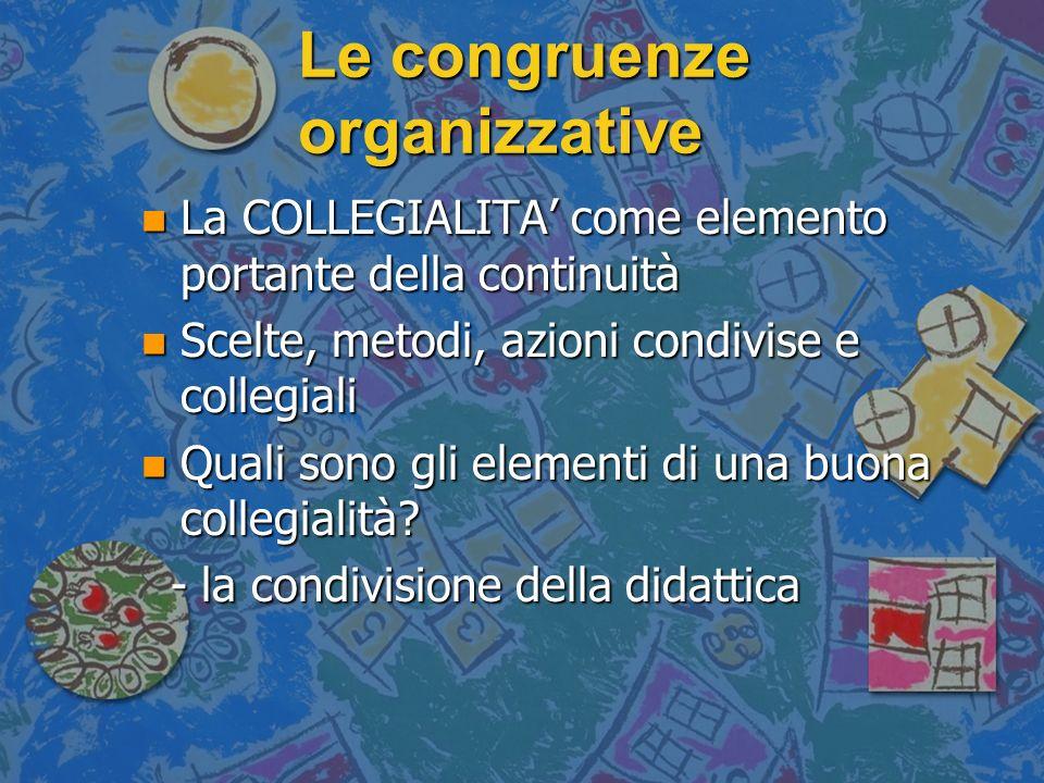 Le congruenze organizzative n La COLLEGIALITA come elemento portante della continuità n Scelte, metodi, azioni condivise e collegiali n Quali sono gli