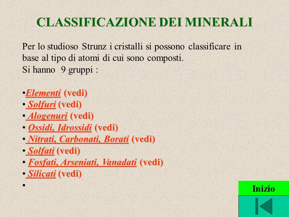 CLASSIFICAZIONE DEI MINERALI Per lo studioso Strunz i cristalli si possono classificare in base al tipo di atomi di cui sono composti. Si hanno 9 grup