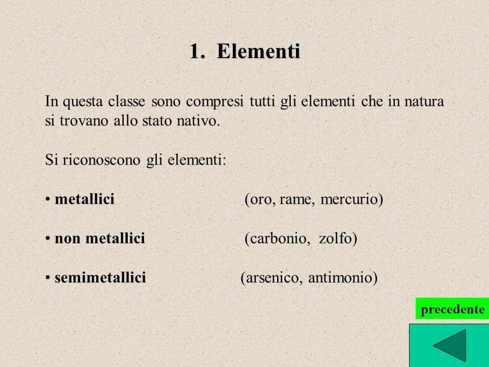 1. Elementi In questa classe sono compresi tutti gli elementi che in natura si trovano allo stato nativo. Si riconoscono gli elementi: metallici (oro,