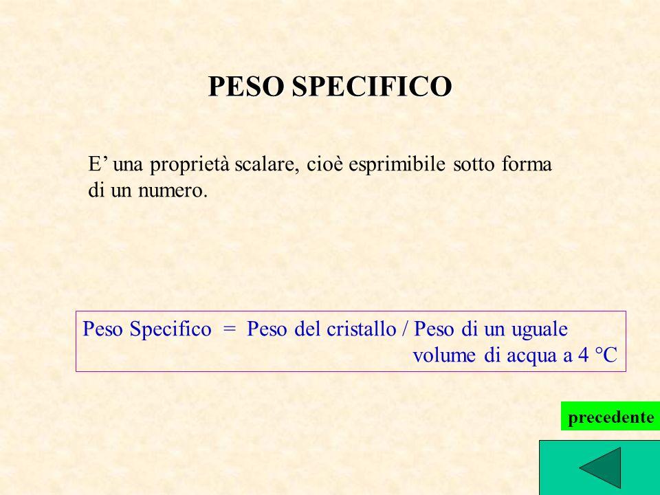 PESO SPECIFICO E una proprietà scalare, cioè esprimibile sotto forma di un numero. Peso Specifico = Peso del cristallo / Peso di un uguale volume di a