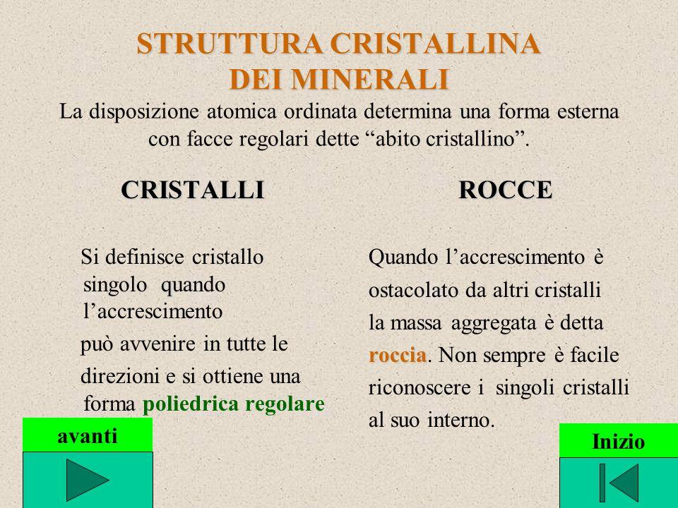 STRUTTURA CRISTALLINA DEI MINERALI STRUTTURA CRISTALLINA DEI MINERALI La disposizione atomica ordinata determina una forma esterna con facce regolari dette abito cristallino.