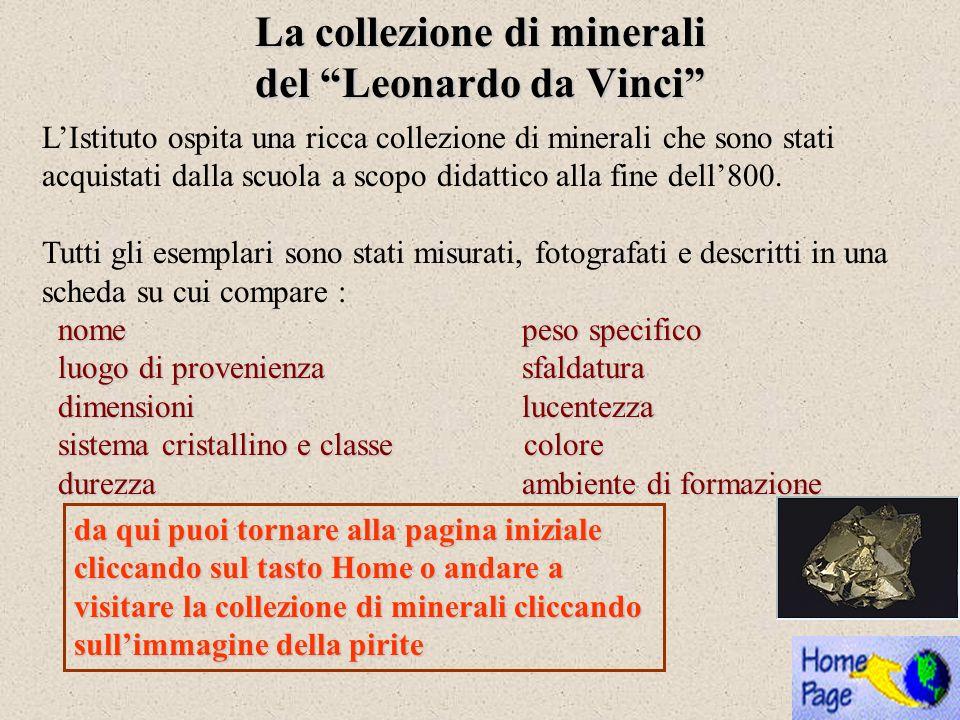La collezione di minerali del Leonardo da Vinci LIstituto ospita una ricca collezione di minerali che sono stati acquistati dalla scuola a scopo didat