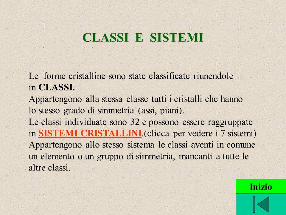 CLASSI E SISTEMI Le forme cristalline sono state classificate riunendole in CLASSI. Appartengono alla stessa classe tutti i cristalli che hanno lo ste