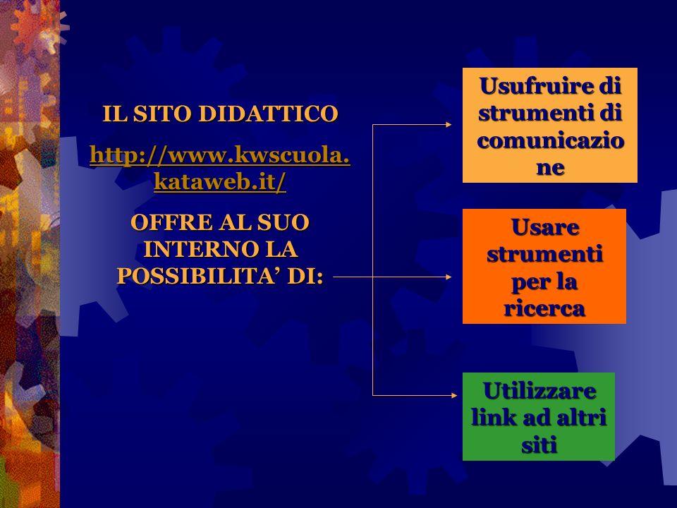 IL SITO DIDATTICO http://www.kwscuola. kataweb.it/ http://www.kwscuola. kataweb.it/ OFFRE AL SUO INTERNO LA POSSIBILITA DI: Usare strumenti per la ric