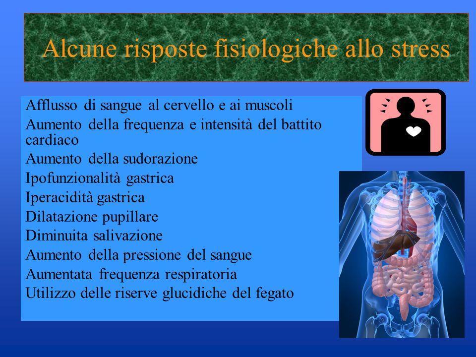 Alcune risposte fisiologiche allo stress Afflusso di sangue al cervello e ai muscoli Aumento della frequenza e intensità del battito cardiaco Aumento