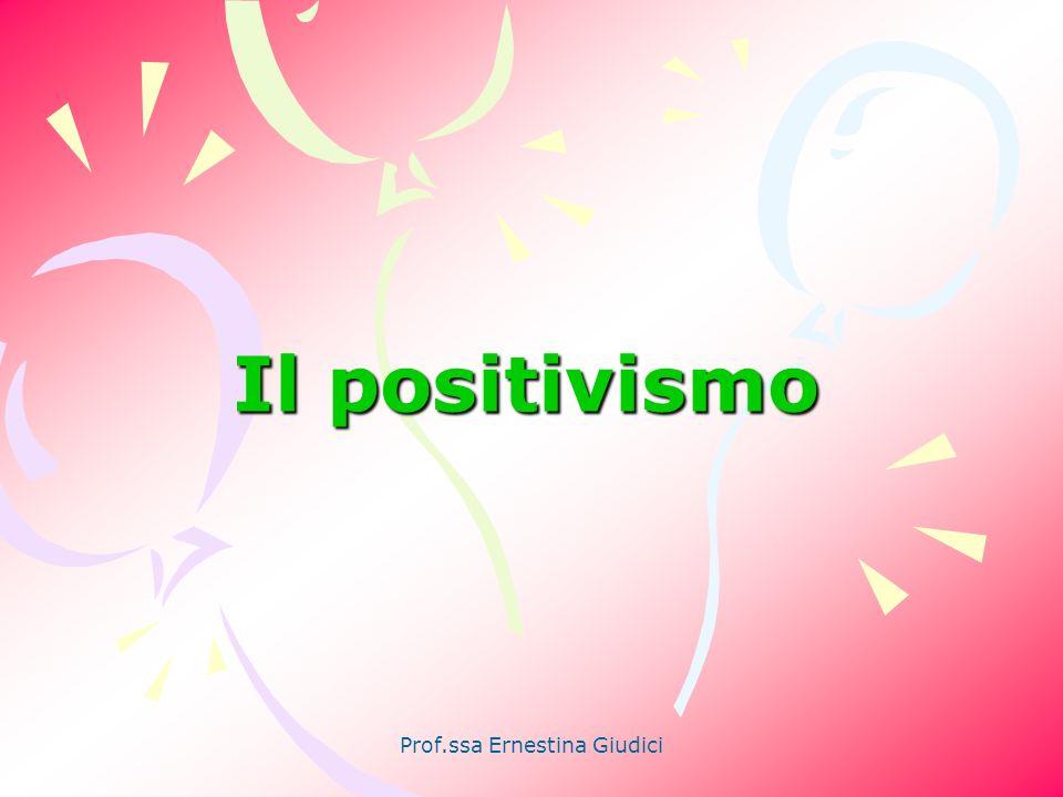 Prof.ssa Ernestina Giudici Prospettiva positivista Trasposizione in ambito sociale dei concetti, delle tecniche di osservazione e misurazione, degli strumenti di analisi delle scienze naturali (fisica, chimica, biologia)